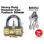 Baoli Lock Heavy Duty Hammer Iron Padlock 50mm