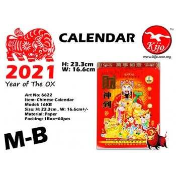 6622-M-B Chinese Calendar 2021 Year of The OX