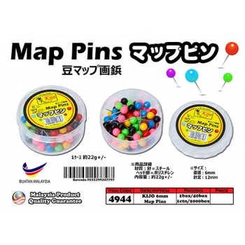 4944 KIJO 6mm Assorted Map Pins