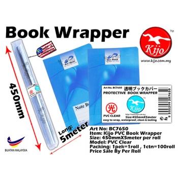 BC7650 Kijo PVC Book Wrapper 450mmX5meter PVC Clear