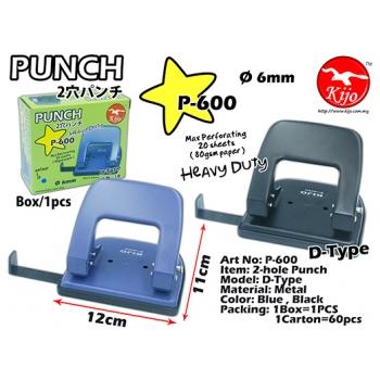 P-600 Kijo 2-hole Punch Metal D-Type Heavy Duty Punch
