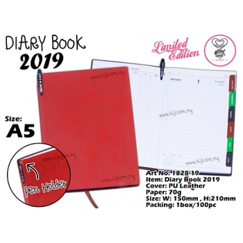 1828-19 Diary Book 2019 - Red