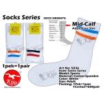 5836 Mid-Calf Sports Socks 1pek=1pair - White