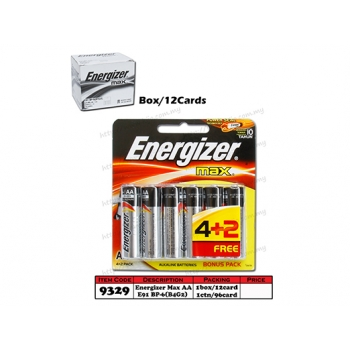 9329 Energizer Battery MAX AA E91 BP-6(B4G2)