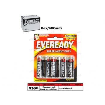 9336 Eveready Battery AA Black 1215 BP4+2
