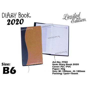 7950 Diary Book 2020 - B6 - Brown Yellow
