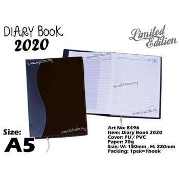 8496 Diary Book 2020 - A5 - Black