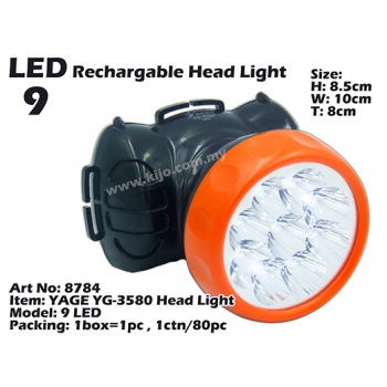 8784 YAGE YG-3580 LED Rechargeable Head Light