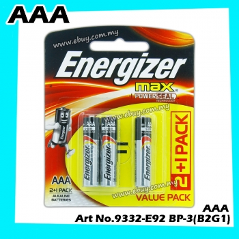 Energizer Max +PoweSeal Alkaline AAA 2+1 Value Pack Card E-92 BP-3 (B2G1) Buy 2 Get 1FreeAX AAA E92 BP-3(B2G1)*