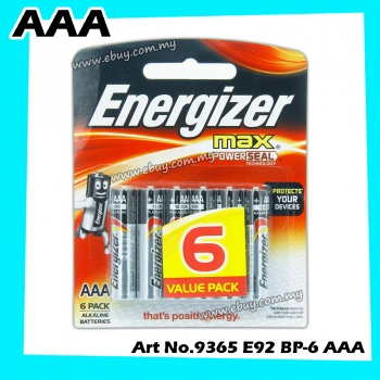 Energizer Max + Powerseal AAA E92 Value Pack Alkaline Batteries 6pcs 100% Original Product Energizer