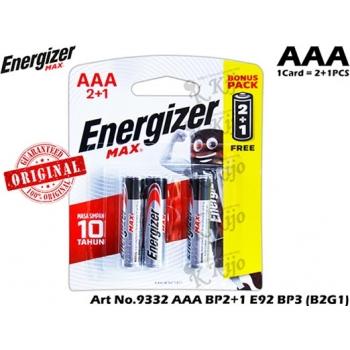 Energizer Max +PoweSeal Alkaline AAA 2+1 Value Pack Card E-92 BP-3 (B2G1) Buy 2 Get 1FreeAX AAA E92 BP-3(B2G1)*