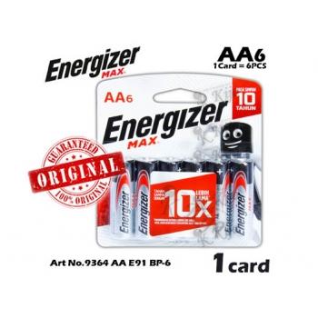 Energizer Max Battery AA E91 BP-6 9364