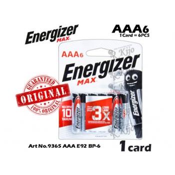 Energizer Max 3X AAA E92 Value Pack Alkaline Batteries 6pcs 9365