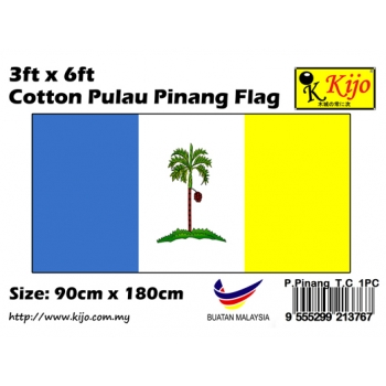 Cotton Pulau Pinang Flag Size: 90cm X 180cm ( 3ft x 6ft )
