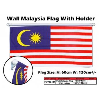 FMTC2401 60cm X 120cm Wall Malaysia Flag with Holder*