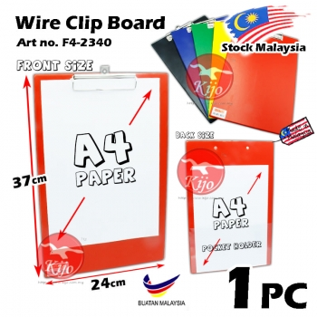 F4 Clip Board Single Wire Clip Board F4 Color PVC Clipboard F4-2340