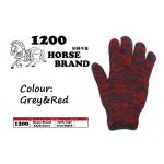 1200 Horse Cotton Glove > Grey&Red