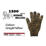 1200 Horse Cotton Glove > Grey&Yellow