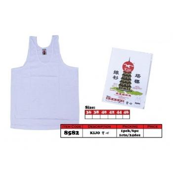 8582 Kijo Pagoda Cotton Singlet Color - White