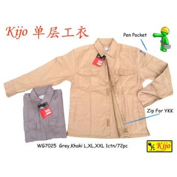 WG-7025 KIJO 1-Ply Worker Uniform Zip-UP Jacket Color - Brown