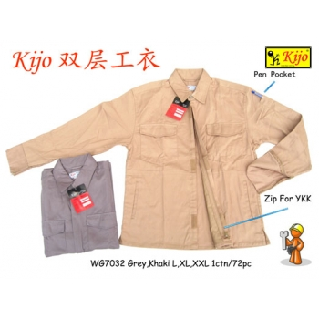 WG-7032 KIJO 2-Ply Worker Uniform Zip-UP Jacket Color - Grey