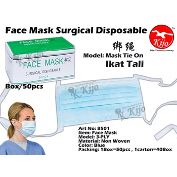 8501 3-PLY Non Woven Face Mask Tie On - Blue