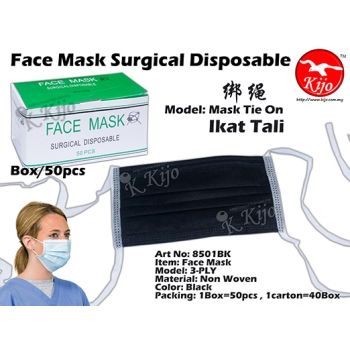 8501BK 3-PLY Non Woven Face Mask Tie On - Black
