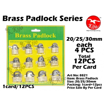 8821 Brass Padlock 20/25/30mm