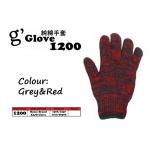 1200 G'glove Cotton Glove > Grey&Red
