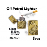 1996-Fish-1 Gold Oil Petrol Lighter