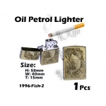 1996-Fish-2 Gold Oil Petrol Lighter