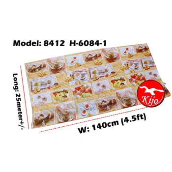Alas Meja / PVC Plastic Table Cloth / Kain Plastik 8412-H-6084-1