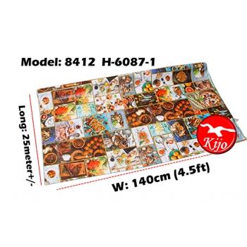 Alas Meja / PVC Plastic Table Cloth / Kain Plastik 8412-H-6087-1