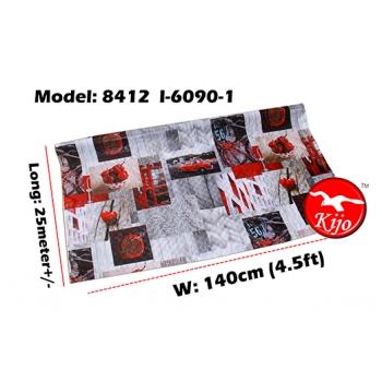 Alas Meja / PVC Plastic Table Cloth / Kain Plastik 8412-I-6090-1