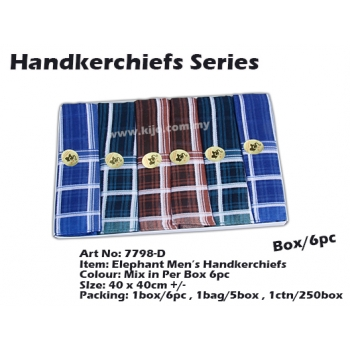 7798-D4 Elephant Men Handkerchiefs
