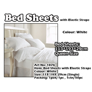 1876 Single Size Bed Sheets with Elastic Straps