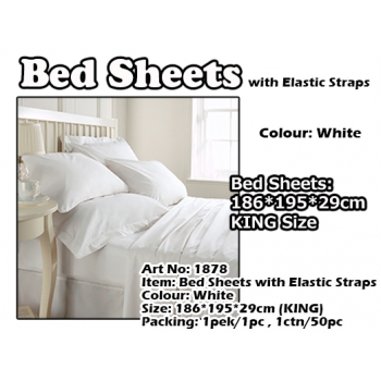1878 KING Size Bed Sheets with Elastic Straps
