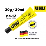 UHU 20ml All Purpose Adhesive Glue Art No:40756 No-12 20ml